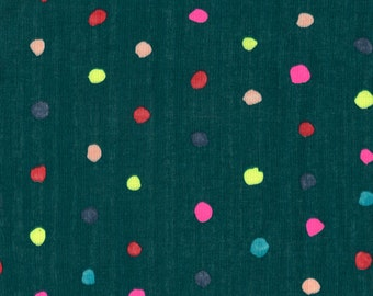 "Nani Iro double gauze fabric, Colorful Pocho in ""Opera"", brights on teal, by the yard"