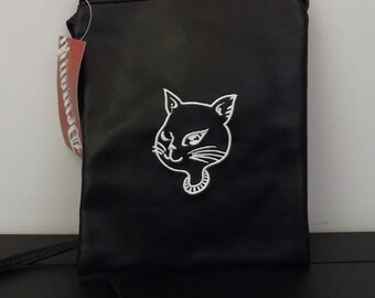 Black Pleather Purse with Cat