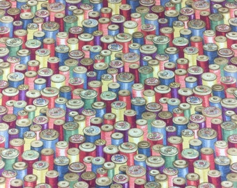 Makower Haberdashery Cottons Reels cotton craft fabric by the fat quarter