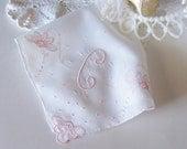 Wedding Handkerchief Monogrammed C Wedding Hanky in Pink for a Bride's Something Old Keepsake Bridal Shower Gift