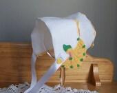 Handkerchief Bonnet for Baby Girl Baptism Christening Bonnet in White with Yellow Hand Crocheted Sun Bonnet Sue Baby Shower Gift