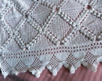 Antique hand crocheted bedspread afghan blanket handmade French raised white crocheted Large bed spread throw coverlet vintage bed linens