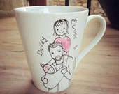 Daddy  mug - Hand painted custom made porcelain cup, father of two -  gift for dad new dad gift new father gift