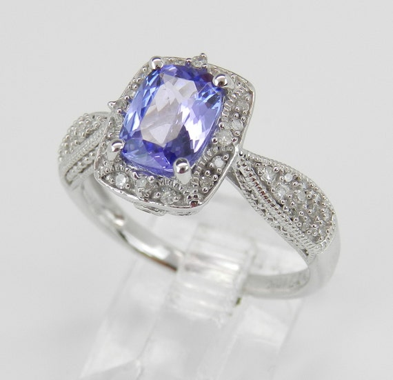 Diamond and Tanzanite Halo Engagement Promise Ring White Gold Size 7 Cushion Cut