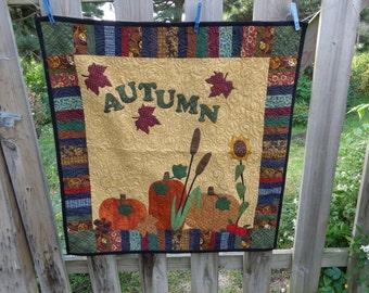 Autumn Wall Quilt, Autumn Quilt,  Pumpkin Fall Quilt 0906-05