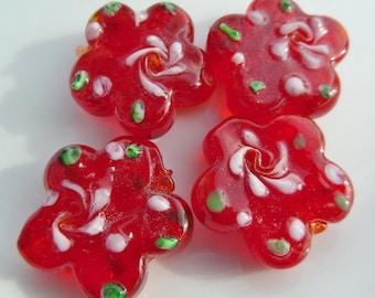 24mm Lampwork Flower Beads, Red Flower Glass Beads