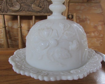 Vintage Milkglass Ornate Candy Dish