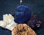 Dark Royal Blue Half Moon Longfin Betta Fish Necklace Pendant/Charm/Ornament