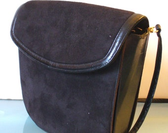 Vintage Frenchy of California Black Suede & Leather Purse