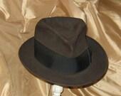 "Vintage Premier Knox Brown Felt Fedora Hat, Size 7 1/2, Long Oval, 2"" Deep Brim"