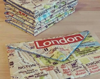 London Map Print Clutch, Purse Evening Bag, Handbag
