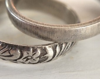 Hers & Hers Skinny 4mm Wedding Band Set in Sterling Silver - Smooth Oxidized Brushed Silver or Floral Patterned - Commitment Rings