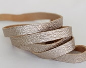 7-10mm  Genuine Leather Strap,  Leather Lace, Pale Rose Gold Sheepskin