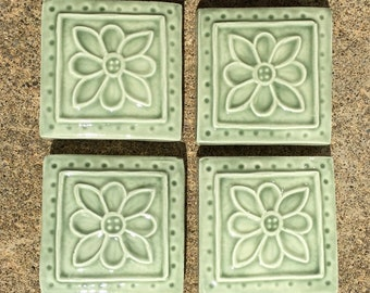 Ceramic Accent Tile -- IN STOCK,  2x2 Embroidered Clay Rosette in Green Tea Glaze, Set of 4