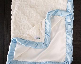 Minky Blanket, Blessing Blanket, Baptism blanket, baby boy, custom blanket, Christening Blanket, Baby Gift, blue and cream, baby blessing