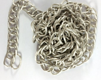 Vintage Handmade Brass Chain, Jewelry Making, Antique Silver, Heavy Curb Chain, Jewelry Chain, B'sue Boutiques, Over 4 Feet, Item08754
