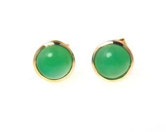 Gem Chrysoprase Button Post Stud 14k Gold Earrings