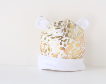 Baby / Toddler beanie hat with ears in modern gold foil fabric.