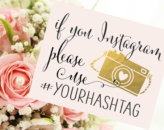 if you Instagram Wedding Sign | Personalized Wedding Hashtag PRINTABLE | Instant Download
