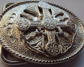 Solid Sterling Silver Celtic Cross Belt Buckle
