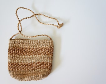 Vintage Sisal Market Purse, Woven Bag, Cross-Body