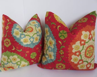 pair 18x18 pillow coversred yellow green teal decorative pillow