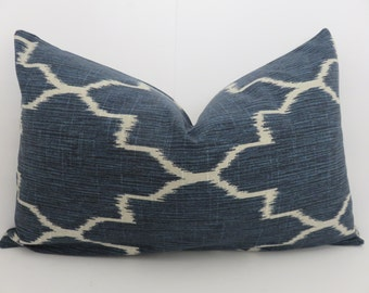 Navy Blue Pillow -13x20 Ikat Navy Blue Pillow - Navy Blue Lumbar- Decorative Lumbar Pillow -Decorative Lumbar- Lattice Blue Lumbar