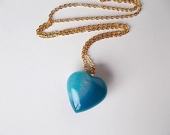 Christmas in July Sale, Teal Agate Heart Necklace, Mineral Jewelry, Gold Bohemian Necklace, Gift for Her