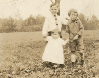 Ghost Baby - Antique Photo - Children - Brothers - Sisters - Motion - Blurry - Sepia Vintage Photo - Snapshot - Autumn - Original Photo