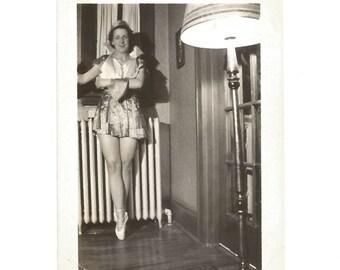"Vintage Photo ""Dance Of The Sugar Plum Fairy"" Adult Woman En Pointe - Ballet Shoes - Black & White Found Vernacular Snapshot"