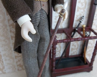 Gentleman's Walking Stick Cane in Walnut and Pearl finish in 1:12 Scale for Dollhouse