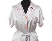 1930s Pajamas // Silver Lilac Rayon Satin Old Hollywood Pajama Set