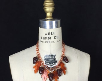 Bakelite Acorn and Leaf Necklace Rootbeer and Caramel