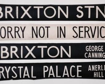 Genuine Vintage London Bus Blind.. Many destinations. Price per destination, frameless for easy shipping