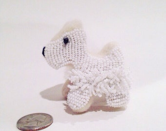 Bead Embroidered Wool Scottish Terrier