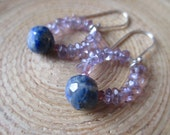 Lapis lazuli and amethyst beaded earrings blue and purple chandelier drop earrings OOAK
