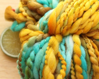 Fools Gold - Fat Wool Art Yarn Handspun Yellow Turquoise Thread Plied