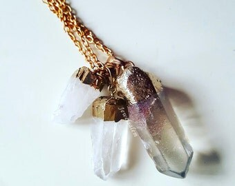 Quartz Necklace BLEMISHED Clear Stone Raw Crystal Layered Necklace Rustic Mineral Jewellery Modern Birthstone Jewelry