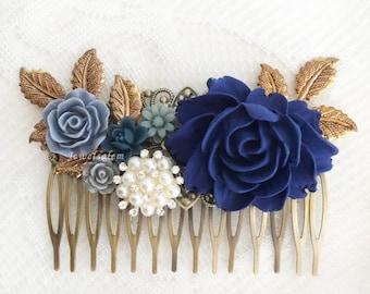Rhinestone Pearl Navy Blue Comb Flower Wedding Hair Comb Elegant Bridal Hair Slide Dark Blue Hair Pin for Bride Wedding Hair Adornment