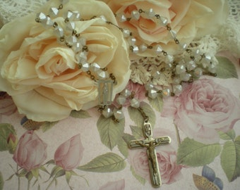 Vintage White INRI Crucifix Rosary Circa 1980s From SincerelyRaven On Etsy