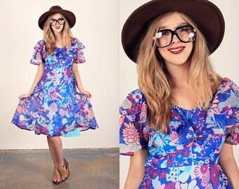 60s Water Color Dress Vintage Blue Chiffon Mod Dress
