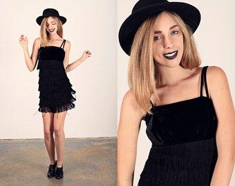 60s Fringe Tassels Dress Vintage Black Fringe Velvet Cocktail Dress
