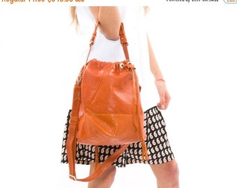 SALE *** 180 USD only instead 355 USD,Trendy Leather Drawstring Bag, Over the Shoulder Everyday Bag, Funcational Large Sack Bag, Handmade