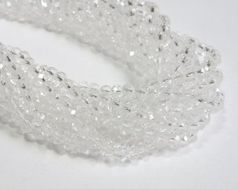 Clear Crystal faceted glass rondelle beads 6x4mm full strand PG02YI011