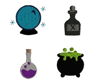 Mini Witchcraft Machine Embroidery Designs(crystal ball, poison, potion and cauldron) -INSTANT DOWNLOAD
