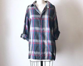 Vintage Grey Plaid Button Down Shirt, Men's XLarge