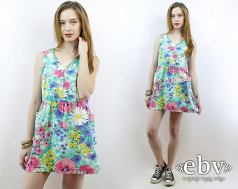 90s Babydoll Dress Green Floral Dress Dolly Dress Floral Mini Dress 90s Mini Dress Vintage 90s Floral Babydoll Dress M L Summer Dress