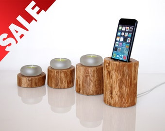 iPhone SE / 6 / 6S Dock plus Candle Holder- home decor - handmade from hardwod - Unique gift
