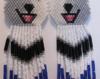 35 Hand Beaded  Laughing White wolf, Husky, malamute dog earrings with Cobalt Blue in fringe