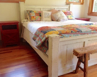 Handmade wood bed frame/bedroom furniture/panel bed/queen size/king size/coastal/beach furniture/headboard/bed